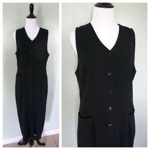 TALBOTS Black V-Neck Sleeveless Button Long Dress